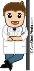 Happy Doctor Profile Vector