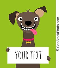 Happy dog and text frame card