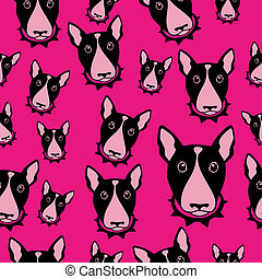 Happy dog bull terrier black and white background. Seamless pattern.