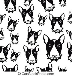 Happy dog bull terrier black and white vector background....