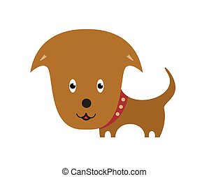 Happy Dog cartoon. Cartoon personage on white background.