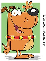 Happy Dog Cartoon Character Waving