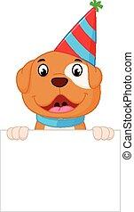 Happy dog cartoon holding sign