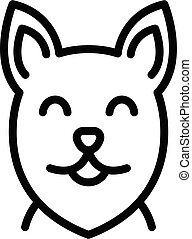 Happy dog face icon, outline style