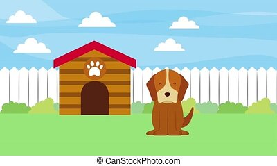 happy dog in the garden with wooden house animation hd