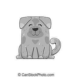 Happy Dog isolated on white background. Cute gray puppy,...