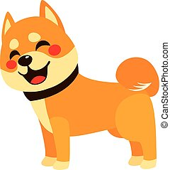 Happy Dog Side View - Cute colorful happy shiba inu dog...