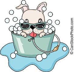 Happy dog  taking a bubble bath