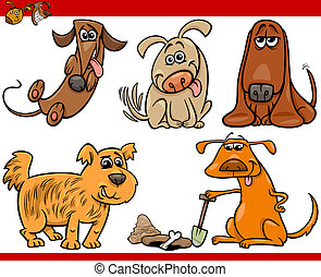happy dogs cartoon illustration set - Cartoon Illustration...