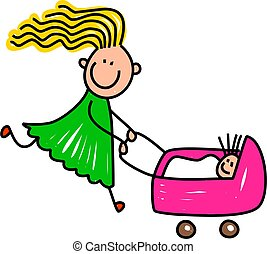 Happy Doll Girl - Whimsical cartoon illustration of a happy...