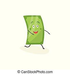 Happy dollar bill cartoon character, cute green money mascot with smiling face running forward