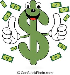Happy Dollar symbol - Illustration of happy cartoon dollar...