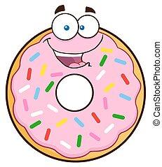 Happy Donut With Sprinkles - Happy Donut Cartoon Character...