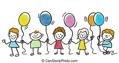 Happy doodle kids with balloons