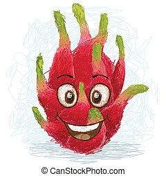 happy red dragon fruit cartoon character smiling.