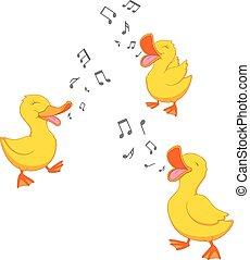 Happy duck singing