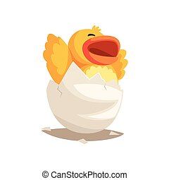 Happy duckling baby hatching from egg