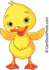 Happy Duckling - Illustration of happy duckling waving wing