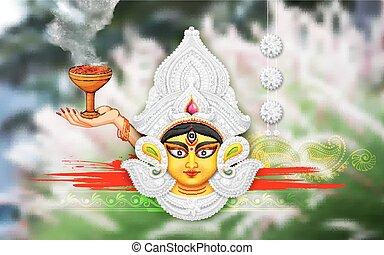 Happy Durga Puja background - illustration of goddess Durga...