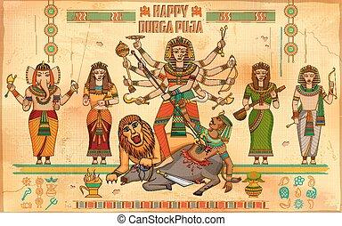 Happy Durga Puja background - illustration of Happy Durga...