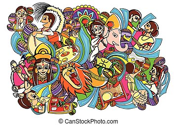 Happy Durga Puja doodle drawing - vector illustration of...