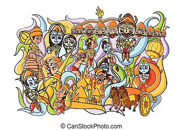 Happy Dussehra doodle drawing for mobile application -...