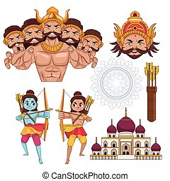 happy dussehra festival poster with set icons