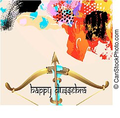 happy dussehra greeting card with krishna bow with arrow and...
