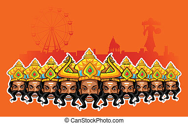 Happy Dussehra Holiday - illustration of Ravana with ten...
