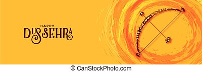 Happy dussehra traditional festival banner with bow and arrow vector