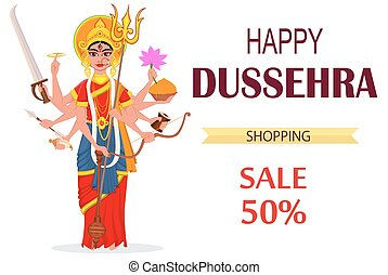 Happy Dussehra vector illustration for sale, shopping. Maa Durga on white background