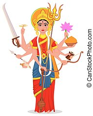 Happy Dussehra vector illustration. Maa Durga on white background