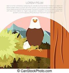 Happy Eagle on the Tree flat Background