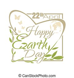 Happy Earth Day. 22 April. Typographic design
