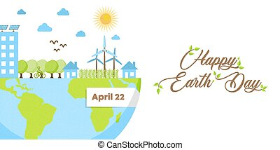 Happy Earth Day banner of green eco friendly city
