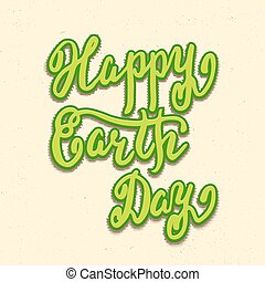 Happy Earth Day card, hand lettering