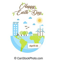 Happy Earth Day card of green eco friendly city