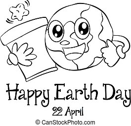Happy Earth Day design hand draw