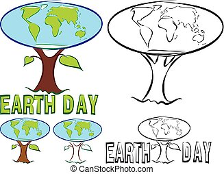earth day - happy earth day -  globe and world tree