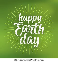Happy Earth Day handwriting lettering. Vector green mesh...