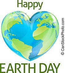 Happy Earth Day Heart Globe Design