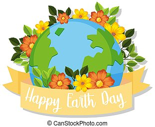 Happy earth day icon