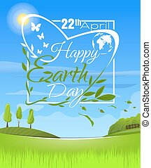 Happy Earth Day. Logo design in a spring landscape