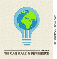 Happy Earth day paper cut light bulb illustration