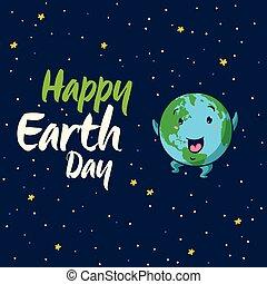Happy Earth Day vector cartoon card