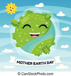 Happy Earth Mascot. Earth day concept. Cartoon Illustration