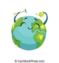 Happy Earth planet character cleaning itself with rake and watering can, cute globe with smiley face and hands vector Illustration