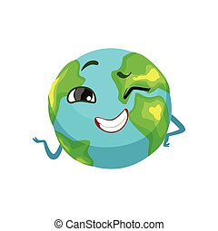 Happy Earth planet character winking, cute globe with smiley face and hands vector Illustration