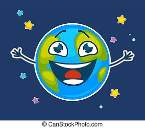 Happy earth with face and broad smile among stars - Happy...