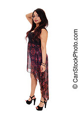 Happy East Indian woman in long dress.